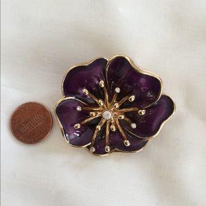 Monet VTG Brooch Enameled Flower Purple